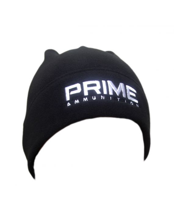Black PRIME Ammo beanie, white embroidered stitching.